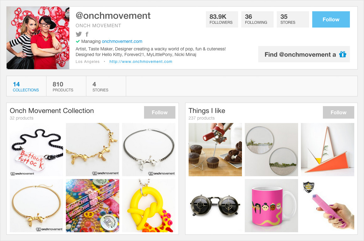 Wanelo featured onch profile
